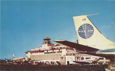 Pan-Am Boeing 707 at the Seattle-Tacoma Airport, ca. 1960.