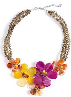 ShopStyle: Nakamol Design 5-Flower Stone Necklace