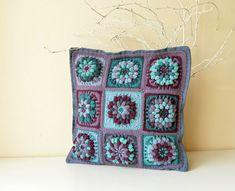 attern of Crocheted Pillowcase - Flower Granny Square Motifs