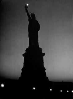 The silhouette of the Statue of Liberty in the World War II era, January 1943.
