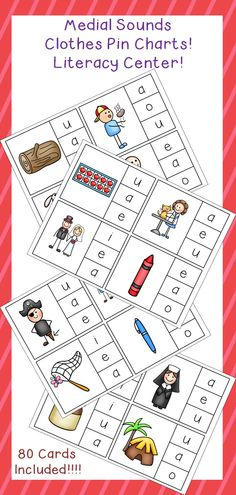 Clothes Pin Charts for Medial Sounds! This makes a great literacy center to focus on medial sounds! Students use clothes pins to match the MIDDLE sound of each picture!
