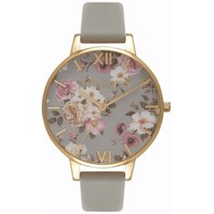 Women's Olivia Burton Flower Show Leather Strap Watch, 38Mm (6,225 PHP) ❤ liked on Polyvore featuring jewelry, watches, dial watches, gold plated jewellery, blossom jewelry, olivia burton and floral jewelry