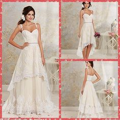 Spaghetti Sweetheart A Line Embroidery Lace Tulle Hi Lo With Detachable Sweep Train Bridal Gowns Crystal Sash Wedding Dresses A339 Chiffon A Line Wedding Dress Designer Wedding Dresses Cheap From Kemibridal, $104.53| Dhgate.Com