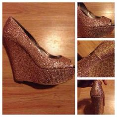 SALE  Open toe Glitter wedges ➖EVERYTHING MUST GO ➖PRICES HAVE BEEN LOWERED ➖REASONABLE OFFERS ACCEPTED ➖NO TRADES UNLESS ITS MY ISO ➖LOWBALLERS WILL BE IGNORED/BLOCKED  ➖SALE ENDS FRIDAY 3/1  ➖PRICES WILL BE READJUSTED 3/1.    Charlotte Russe peep toe rose gold / pink wedges. Glitter is slightly faded but not extremely noticeable. Size 9 Charlotte Russe Shoes Wedges