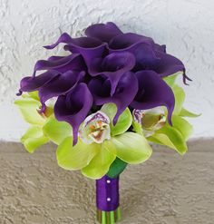 Wedding Purple Calla Lilies and Green Cymbidium by Wedideas, $115.00