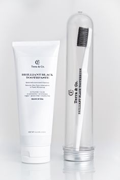 Terra & Co. Brilliant Black Toothpaste and Toothbrush  Made with Activated Charcoal  Vegan Gluten Free Cruelty Free