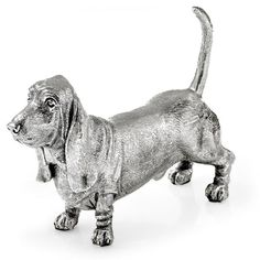 Sterling Silver Basset Hound Sculpture ($450) ❤ liked on Polyvore featuring home, home decor, hand sculpture, handmade home decor and basset hound home decor