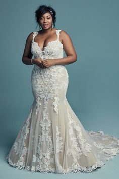 Lace wedding dress - Abbie by Maggie Sottero. See more Maggie Sottero Wedding Dresses on WeddingWire! Fit And Flare Wedding Dress, Perfect Wedding Dress, Best Wedding Dresses, Flattering Wedding Dress, Dream Wedding, Wedding Dress Straps, Full Figure Wedding Dress, Flare Dress, Fall Wedding