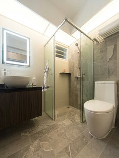 Common bathroom. Modern interior concept, luxe, elegant feel. A project at Punggol, 5rm BTO HDB. - Samuel, Unity