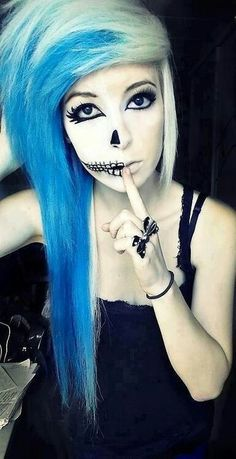 I know this was shooting for the emo, scene girl. But her make up is pretty legit for Halloween though.