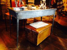 Riveted steel French writing desk. 1870s.