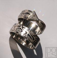 14kt whitegold and silver Mokume-gane with triangle diamond