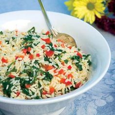 Healthy Rice Recipe With Spinach, Red Pepper and Feta Cheese | Nutrition Facts (per serving): Calories – 228, Fat – 3.6g, Dietary Fiber – 2.1g, Protein – 8.0g, Vitamin A – 92%, Vitamin C – 56%, Calcium – 13%, Iron – 19%