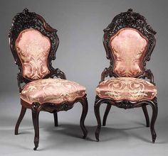Victorian Rococo Revival Parlor Chairs - J. Luxury Furniture Stores, Furniture Fix, Furniture Near Me, Furniture Design, Victorian Parlor, Victorian Life, Victorian Style Furniture, Antique Furniture, Antique Chairs
