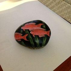 Hand+painted+Coral+tropical+parrotfish+rock++fish+by+gusismom,+$24.00