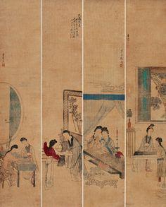 """Gai Qi (改琦) ,   人物四屏 1808年作. 改琦(1773-1828),中国清代画家。字伯韫,号香白,又号七芗、玉壶山人、玉壶外史、玉壶仙叟等。松江(今上海市)人,宗法华喦,喜用兰叶描,仕女衣纹细秀,树石背景简逸,造型纤细,敷色清雅,创立了仕女画新的体格,时人称为""""改派""""。工人物,佛像,仕女,笔意秀逸潇洒,其远祖为西域人,于元朝时入居中原,明清两代世居宛平(今属北京),祖父改光宗一度任松江(今属上海)参将,遂入籍于此。明清以来,松江地区文人荟萃,书画鼎盛,改琦从小耳濡目染,深受影响,青少年时就在艺术上取得一定成就。"""