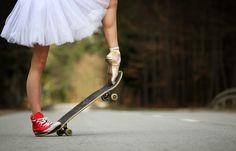 Skateboarding Ballerina by PhotoYoung | A nice balance between being a girly girl & a tomboy.