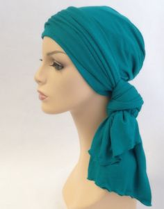 Emerald Teal Turban Head Wrap Alopecia Chemo Head Scarf Jersey Knit Hat  Scarf Set 806a6f82fc1a
