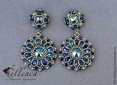 Купить Мастер класс серьги «Metallic Blue» - разноцветный, серьги, Сваровски, бисер, мастер-класс