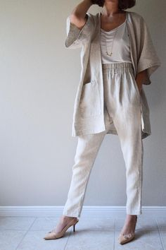 At a heavier weight of ounces this linen is referred to as Rustic due to its more textured look and feel. Durable and perfect for projects that require just a bit more… NATURAL Softened - Linen - Heavy Shop now. Natural Fiber Clothing, Casual Outfits, Fashion Outfits, Travel Outfits, Pantalon Large, Monochrome Fashion, Summer Work Outfits, Kimono Fashion, Tokyo Fashion