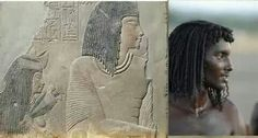 This is a picture of a Beja man on the left. They live in the mountainous Area between Aswan (southern Egypt) and Eritrea (north of Ethiopia). See...He looks just like the people in most of the 3000 year old bas reliefs in you'd see today in Egypt.