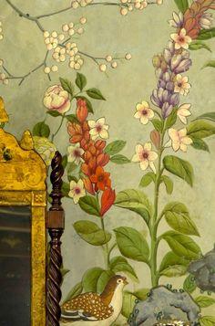 thefoodogatemyhomework:  Bedroom wallpaper detail from Winterthur, Wilmington, Delaware.