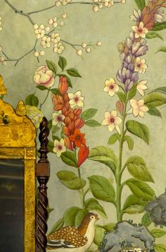 Bedroom wallpaper detail from Winterthur, Wilmington, Delaware.