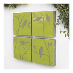 Bird Wall Tiles set of four - terra cotta and paint for indoor or outdoor use.