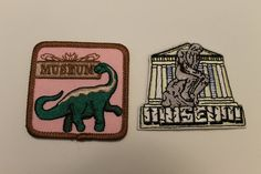 Museum Patch Pack (2) - thinker natural history art dinosaur gallery tour scout archives historian by GreyguyIndustries on Etsy