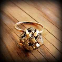 Pyrite Nugget Ring by SweetBella on Etsy $78