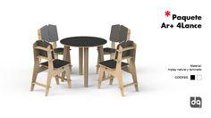 Mesa redonda y 4 sillas, venta paquete para restaurante, cafetería, bar, negocio.