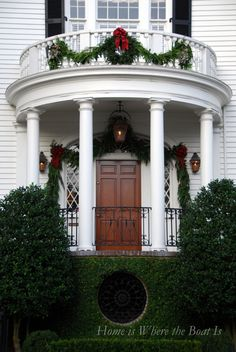 Some exquisitely kept old mansions dart out towns and country side. This simply decorated porch with the mansions beauty proves simple is sometimes best