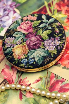 Beautiful Petit Point Roses Compact