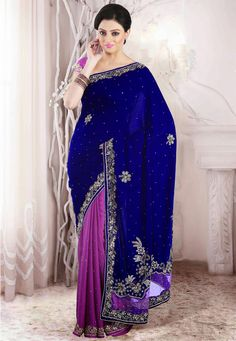 Lavender Pink and Navy Blue embroidered party saree intricate with zari thread, sequins work, beads work