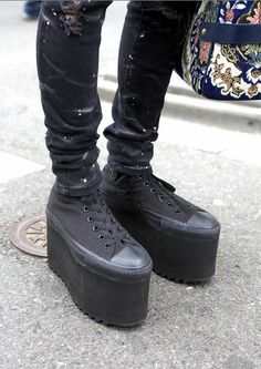 DIY platform shoes: Stack multiple pairs of flip flop and glue!