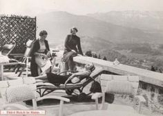Eva Braun suns herself while Hanni Morrell and another friend join her on the main Berghof terrace, above the garage. Germany Area, German Boys, The Third Reich, Past Life, World War Two, Historical Photos, Wwii, Inner Circle, Alps