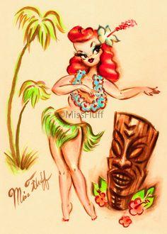 Hula Girl Tattoos, Pin Up Girl Tattoo, Tiki Tattoo, Miss Fluff, Tiki Art, Vintage Tiki, Hawaiian Art, Hula Dancers, Tiki Room