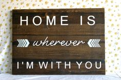 HandPainted Large Wood Sign // Home is Wherever I'm by CupcakeEtsy, $48.00 Wood Block Crafts, Wood Crafts, Wood Projects, Pallet Art, Wood Creations, Hanging Wall Art, Home Signs, Wooden Signs, Diy Home Decor