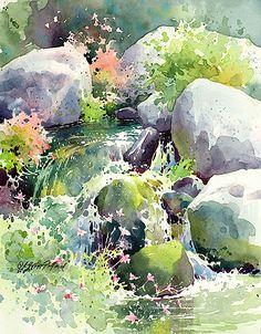 Julie Gilbert Pollard (pretty painting of a pretty sight; I love waterfalls!)