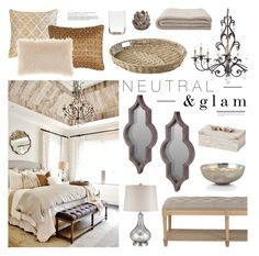"""""""Neutral & Glam Bedroom"""" by emmy ❤ liked on Polyvore featuring interior, interiors, interior design, thuis, home decor, interior decorating, Universal Lighting and Decor, Pier 1 Imports, Bandhini Homewear Design en Pyar & Co."""