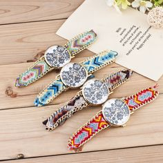 Braided Friendship Watch, Zinc Alloy, with iron chain & Wool & Glass, Chinese movement, Flat Round, gold color plated, woven pattern & for woman, more colors for choice, nickel, lead & cadmium free, 38mm, Length:Approx 9.5 Inch, Sold By PC