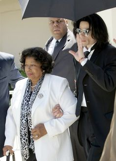 Michael Jackson and his mother, Katherine, leave Santa Barbara County Superior Court after he was acquitted in his child molestation case June 13, 2005 in Santa Maria, California. After seven days of deliberation the jury has reached a not guilty verdict on all 10 counts in the trial against Michael Jackson. Jackson was charged in a 10-count indictment with molesting a boy, plying him with liquor and conspiring to commit child abduction, false imprisonment and extortion. He pleaded innocent.