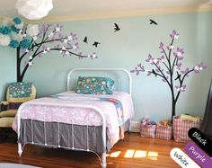 Modern Nursery Trees Wall Decals Large Corner Wall decal Tree with Flying Birds Wall Murals Elegant Nursery Decor for kids room KR029
