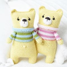 Some more teddy bears with colorful sweaters and worried faces  #lilleliis #teddybear #amigurumilove