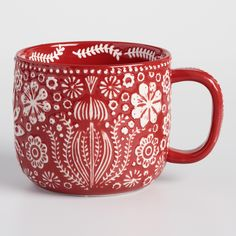 cool mugs Prettily patterned with our exclusive Scandinavian-inspired abstract floral design both inside and out, these merry red and white mugs have lots of texture. Their generous size mak Unique Coffee Mugs, Cool Mugs, Funny Coffee Mugs, Large Coffee Mugs, Mugs Set, Tea Mugs, Ceramic Pottery, Pottery Barn, Cappuccino Mugs