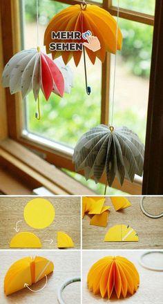 Easy DIY Window Decorating Ideas Transform paper circles to hanging umbrellas. ideas Easy DIY Window Decorating Ideas Transform paper circles to hanging umbrellas. Kids Crafts, Diy And Crafts, Arts And Crafts, Crafts For The Home, Diy Paper Crafts, Cute Umbrellas, Paper Umbrellas, Papier Diy, Diy Simple