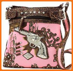 Pink/Brown Mossy Camo Guns Bullets Cross Body Messenger Style Purse - Crossbody bags (*Amazon Partner-Link)
