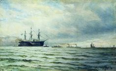 Lev Lagorio - Seascape with ships
