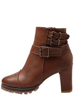 Pu Buckle Strap Chunky Heel Booties #Pu #Booties #maykool