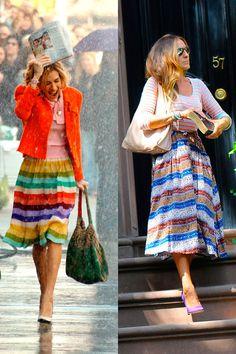 Falda de rayas colorida